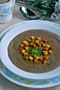 Rich & Creamy Mushroom Soup with Homemade Croutons