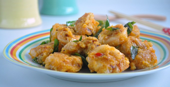 Squid (Sotong) in Salted Egg Yolk Custard Sauce 咸蛋奶黄苏东