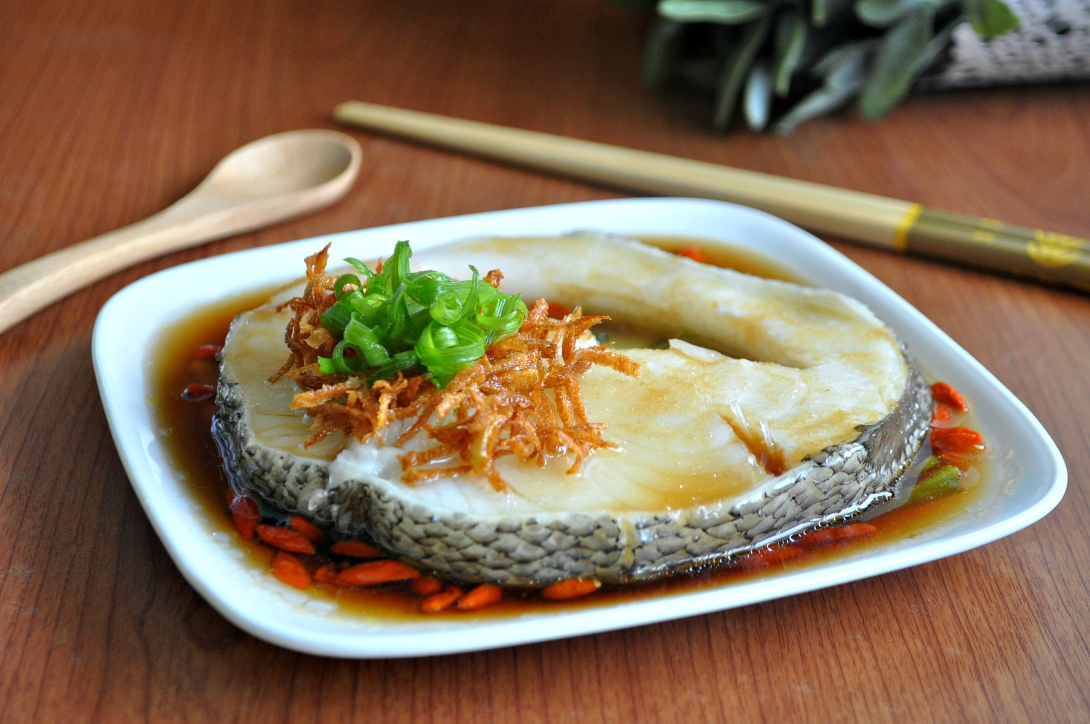 Steamed Cod fish with Wolfberries, Scallions & Crispy Ginger