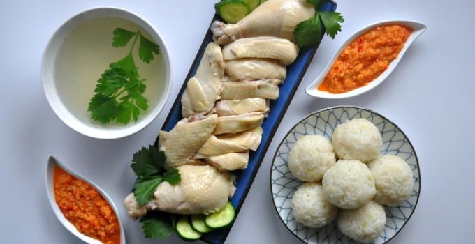 Hainanese Chicken Rice Balls with Garlic Chilli Sauce 海南鸡饭与辣椒酱