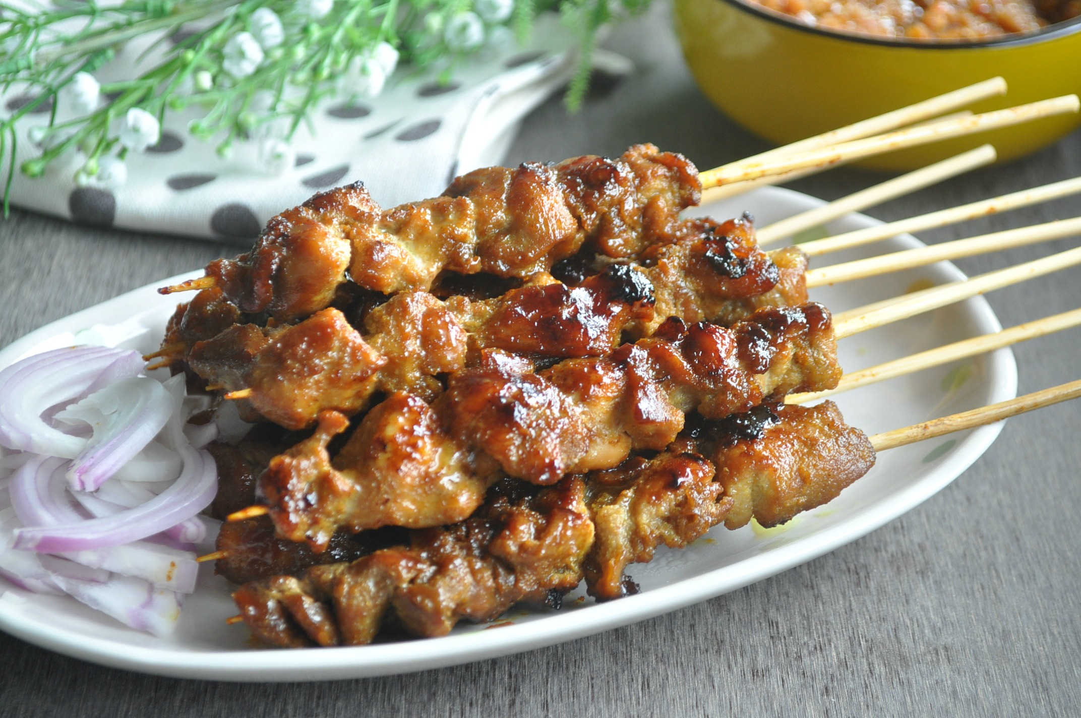 ... row i experimented with both the pork and chicken satay as well as the