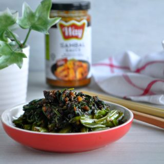 Easy Sambal Kangkong with Way Sambal Sauce