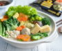 Chinese Dumplings & Vegetables One Pot Meal with Mizkan's Hotpot Soup Base